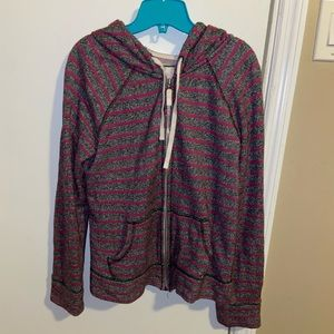 Nollie Pink and Gray Striped Hoodie Large
